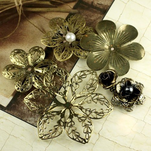 Prima - Vintage Trinkets Collection - Metal Embellishments - Flowers Mix 4