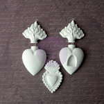 Prima - Archival Cast Collection - Relics and Artifacts - Plaster Embellishments - Flaming Hearts Ex Votos II