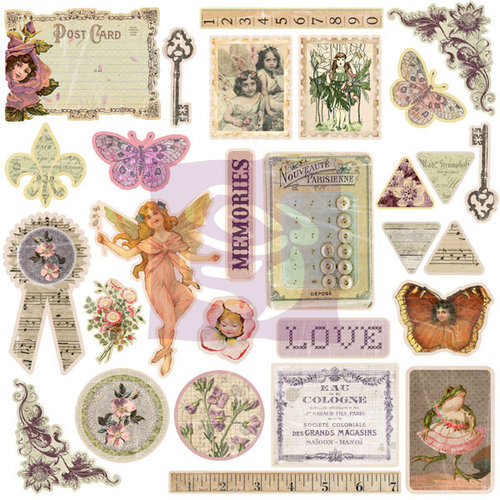 Prima - Fairy Rhymes Collection - 12 x 12 Self Adhesive Chipboard Pieces