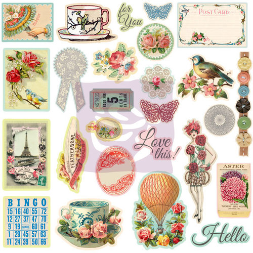 Prima - Divine Collection - 12 x 12 Self Adhesive Chipboard Pieces