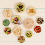 Prima - Delight Collection - Wood Embellishments - Buttons