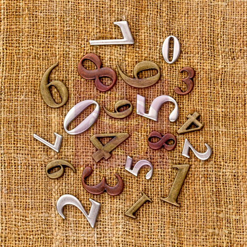 Prima - Sunrise Sunset Collection - Mechanicals - Vintage Trinkets - Metal Embellishments - Mini Numbers
