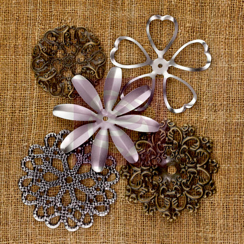 Prima - Sunrise Sunset Collection - Mechanicals - Vintage Trinkets - Metal Embellishments - Flowers - Large