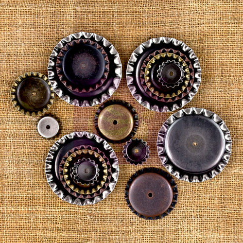 Prima - Sunrise Sunset Collection - Mechanicals - Vintage Trinkets - Metal Embellishments - Bottle Caps