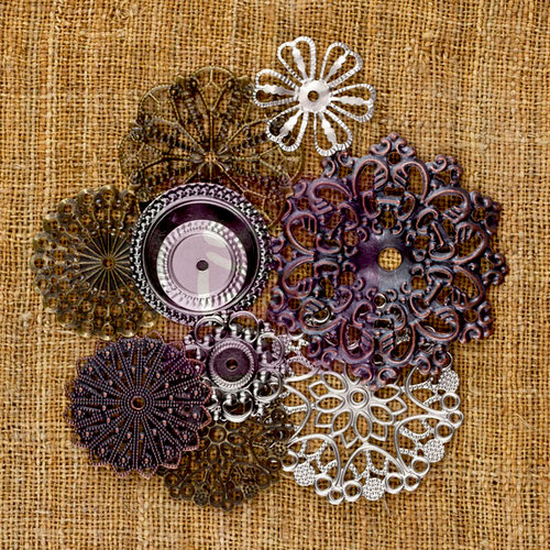 Prima - Sunrise Sunset Collection - Mechanicals - Vintage Trinkets - Metal Embellishments - Flowers - Small
