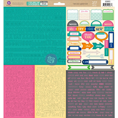 Prima - Leeza Gibbons - All About Me Collection - 12 x 12 Cardstock Stickers - Type and Tabs