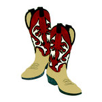 Paper Wizard - Travel Collection - Die Cuts - Cowboy Boots - Red and Tan