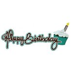 Paper Wizard - You Say Its Your Birthday Collection - Die Cuts - Happy Birthday - Frosting Title - Teal
