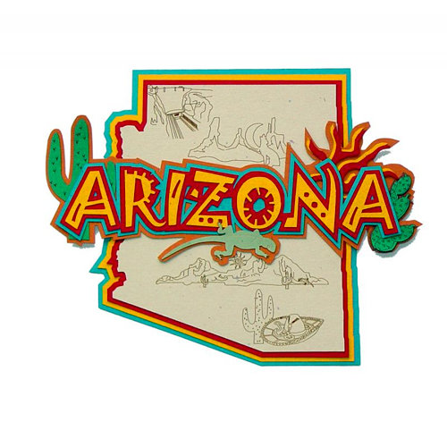Paper Wizard - Altered States Collection - Die Cuts - Map of Arizona