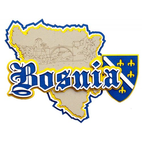 Paper Wizard - Country Maps Collection - Die Cuts - Map of Bosnia