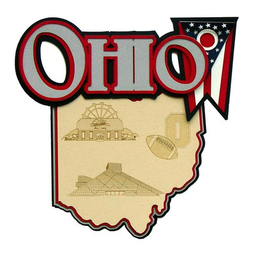 Paper Wizard - Altered States Collection - Die Cuts - Map of Ohio