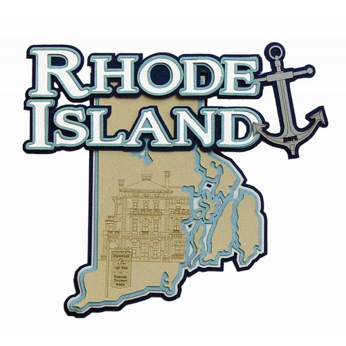 Paper Wizard - Altered States Collection - Die Cuts - Map of Rhode Island