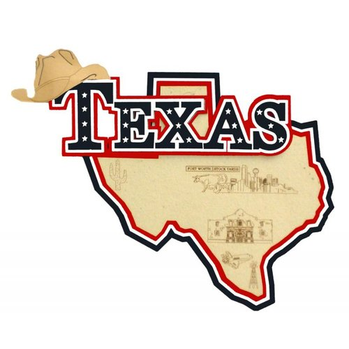 Paper Wizard - Altered States Collection - Die Cuts - Map of Texas