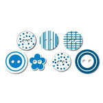 Queen and Company - Chipboard Buttons - Baby Blue