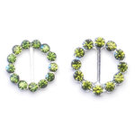Queen and Company - Bling - Jeweled Ribbon Buckles - Round Moss