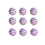 Queen and Company - Candy Shoppe Collection - Self Adhesive Candy Stripers - Round - Grape Ape