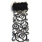 Queen and Company - Self Adhesive Felt Fusion Ribbon - 4.7 Inches - Scroll - Black