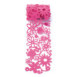 Queen and Company - Self Adhesive Felt Fusion Ribbon - 2.7 Inches - Floral - Hot Pink