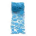 Queen and Company - Self Adhesive Felt Fusion Ribbon - 2.7 Inches - Floral - Blue, CLEARANCE