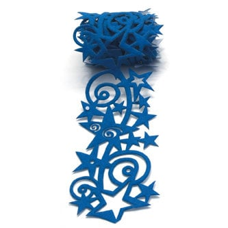 Queen and Company - Self Adhesive Felt Fusion Ribbon - 2.7 Inches - Star Swirl - Blue