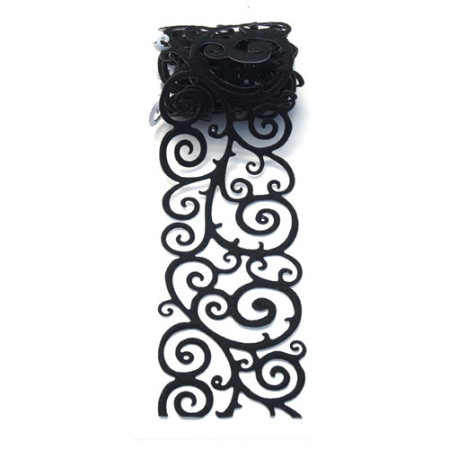 Queen and Company - Self Adhesive Felt Fusion Ribbon - 2.7 Inches - Scroll - Black