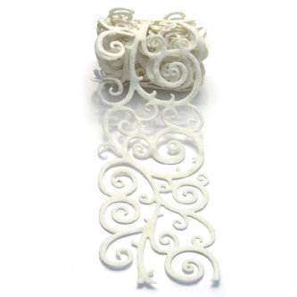 Queen and Company - Self Adhesive Felt Fusion Ribbon - 2.7 Inches - Scroll - White