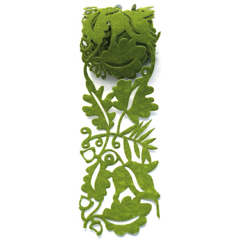 Queen and Company - Self Adhesive Felt Fusion Ribbon - 2.7 Inches - Fall Leaves - Green