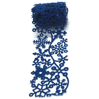Queen and Company - Self Adhesive Felt Fusion Ribbon - 2.7 Inches - Winter - Snow - Dark Blue