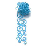 Queen and Company - Self Adhesive Felt Fusion Ribbon - 1.6 Inches - Scrolls - Blue