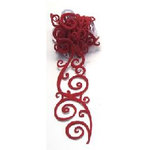 Queen and Company - Self Adhesive Felt Fusion Ribbon - 1.6 Inches - Scrolls - Red