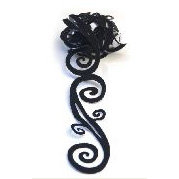 Queen and Company - Self Adhesive Felt Fusion Ribbon - 1.6 Inches - Scrolls - Black