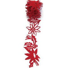 Queen and Company - Self Adhesive Felt Fusion Ribbon - 1.6 Inches - Christmas - Poinsettias - Red
