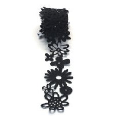 Queen and Company - Self Adhesive Felt Fusion Ribbon - 1.6 Inches - Floral - Black