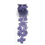 Queen and Company - Self Adhesive Felt Fusion Ribbon - 1.6 Inches - Floral - Lilac, CLEARANCE