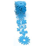 Queen and Company - Self Adhesive Felt Fusion Ribbon - 1.6 Inches - Floral - Blue