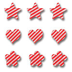 Queen and Company - Candy Shoppe Collection - Ice Accents - Stripe - Cherry Bomb