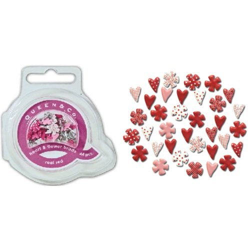 Queen and Company - Mini Heart and Flower Brads - 44 pieces - Real Red