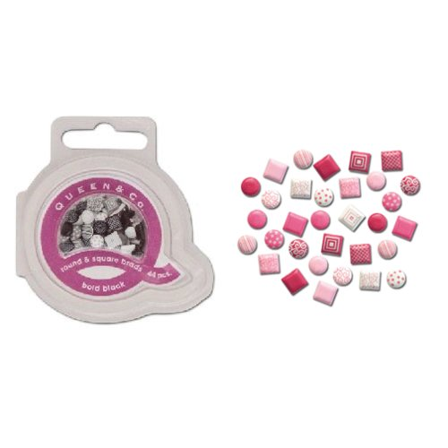 Queen and Company - Mini Square and Round Brads - 44 pieces - Think Pink, CLEARANCE