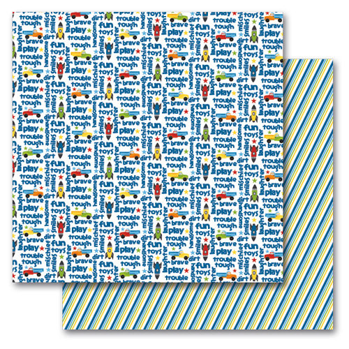 Queen and Company - Kids Collection - 12 x 12 Double Sided Paper - Boy Words