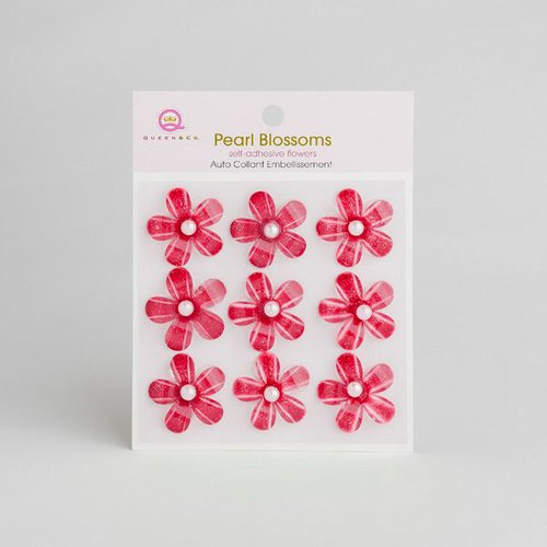 Queen and Company - Self Adhesive Pearl Blossoms - Red