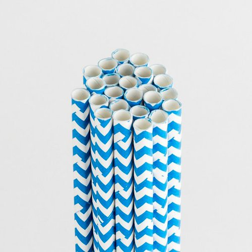 Queen and Company - Perfect Party Collection - Drinking Straws - Chevron - Blueberry Bliss
