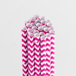 Queen and Company - Perfect Party Collection - Drinking Straws - Chevron - Cotton Candy