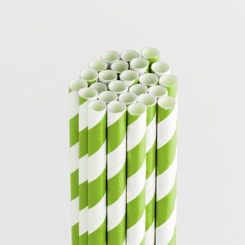 Queen and Company - Perfect Party Collection - Drinking Straws - Stripe - Kiwi Kiss