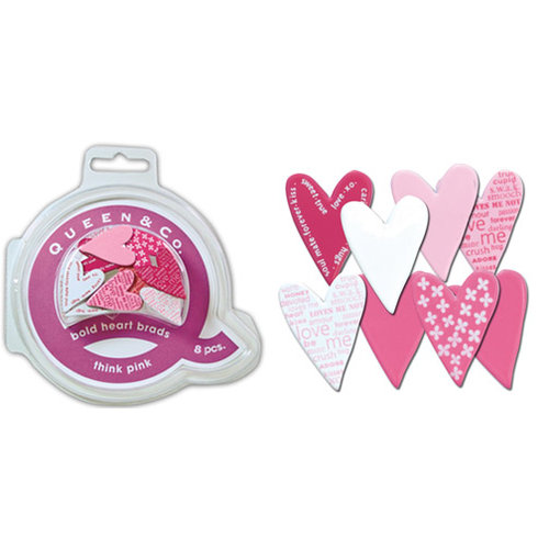 Queen and Company - Bold Heart Brads - 8 pieces - Think Pink