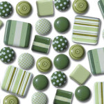 Queen & Co. - Textured Trio Brads - Greens, CLEARANCE