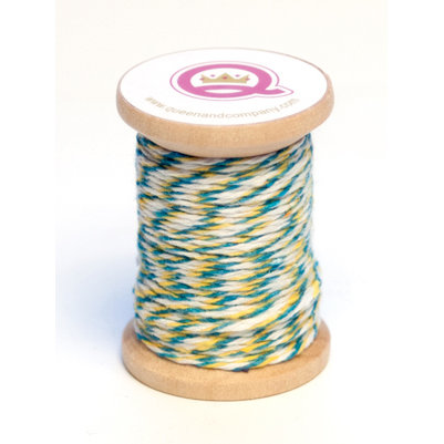 Queen and Company - Summer Collection - Twine Spool - Turquoise Yellow and White