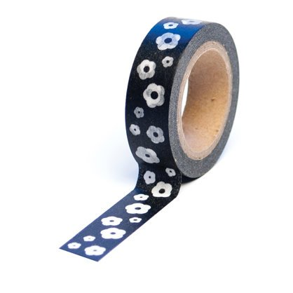 Queen and Company - Trendy Tape - Flowers Black