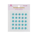 Queen and Company - Candy Shoppe Collection - Self Adhesive Twinkle Flowers - Turquoise