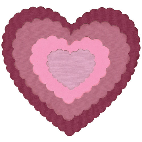 Lifestyle Crafts - Quickutz - Die Cutting Template - Nesting Scalloped Hearts