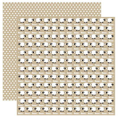 Reminisce - Barnyard Buddies Collection - 12 x 12 Double Sided Paper - Baa Baa